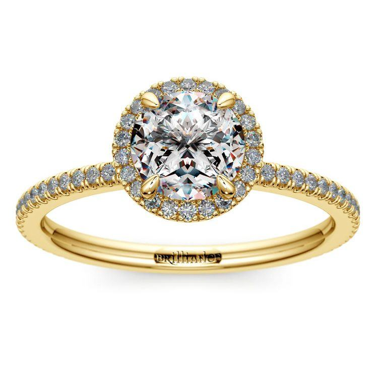 Delicate Halo Engagement Ring In Yellow Gold   01