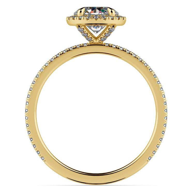 Delicate Halo Engagement Ring In Yellow Gold   02