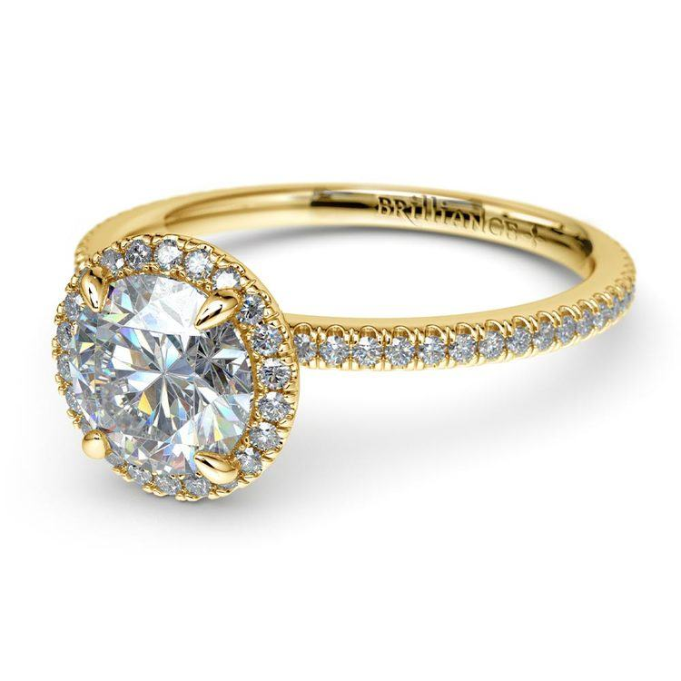 Delicate Halo Engagement Ring In Yellow Gold   04