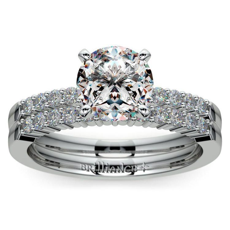 Delicate Shared-Prong Diamond Bridal Set in Platinum | 01
