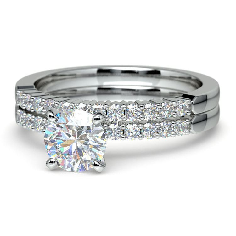 Delicate Shared-Prong Diamond Bridal Set in White Gold | 04