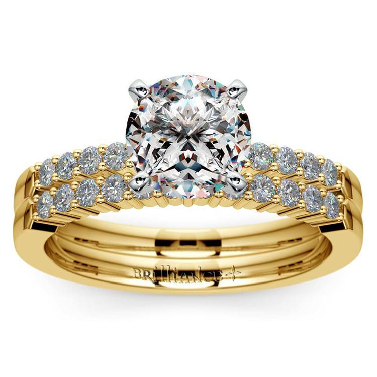 Delicate Shared-Prong Diamond Bridal Set in Yellow Gold | 01