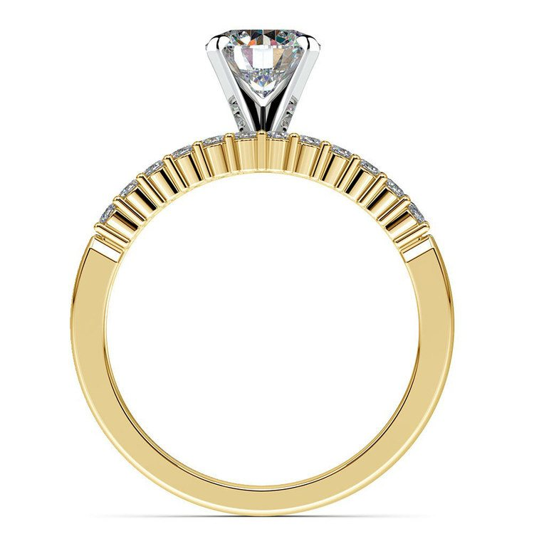 Delicate Shared-Prong Diamond Bridal Set in Yellow Gold | 02