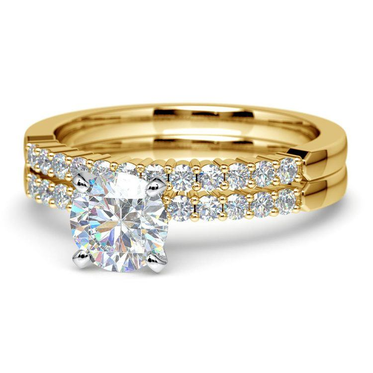 Delicate Shared-Prong Diamond Bridal Set in Yellow Gold | 04