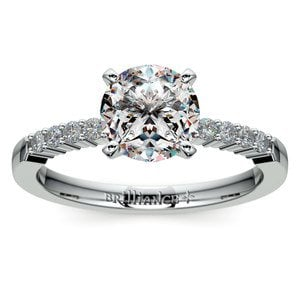 Delicate Shared-Prong Diamond Engagement Ring in Platinum