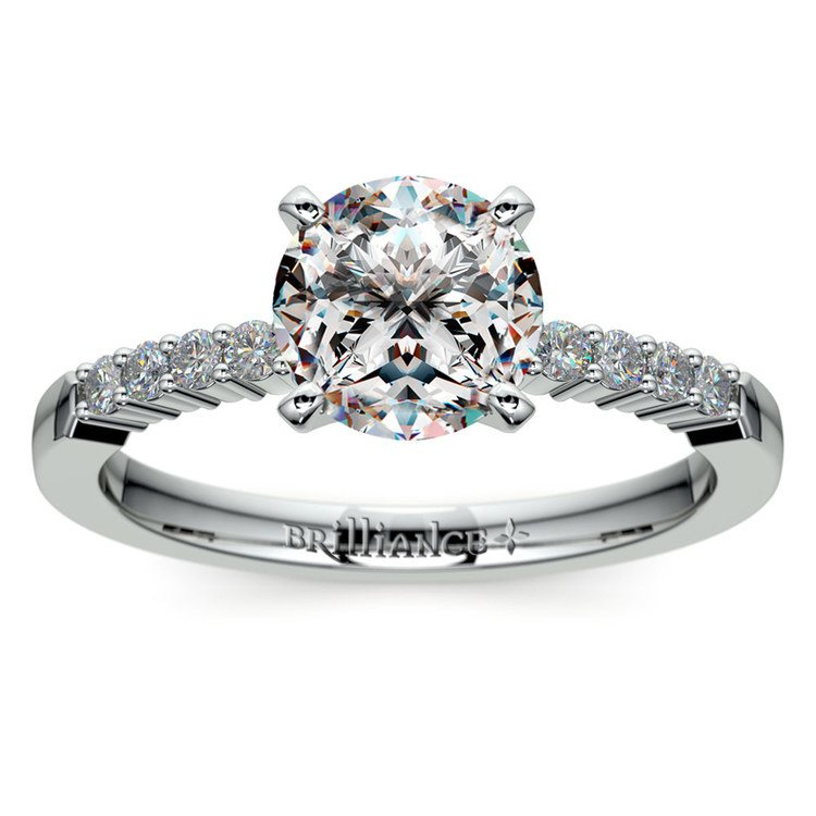 Delicate Shared-Prong Diamond Engagement Ring in Platinum | 01