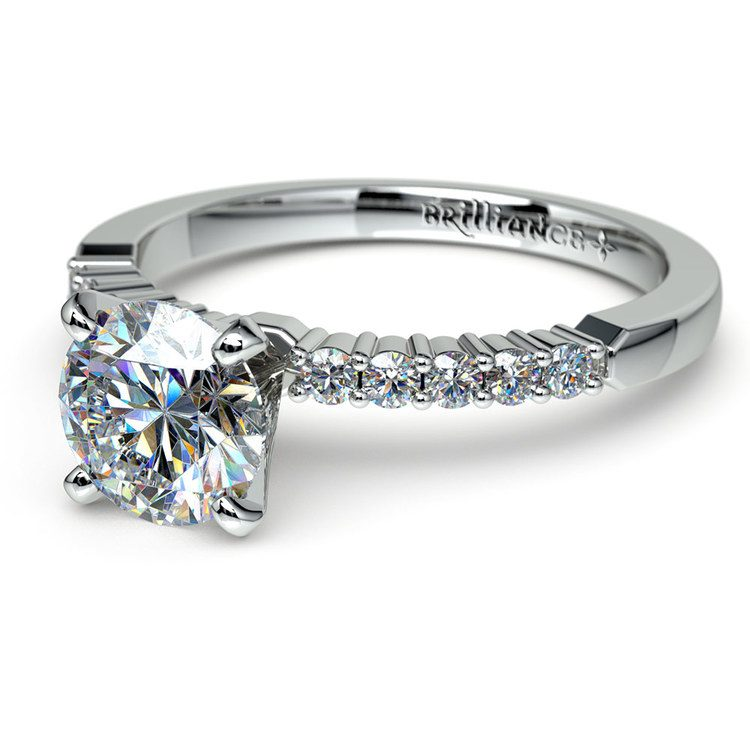 Delicate Shared-Prong Diamond Engagement Ring in Platinum | 04