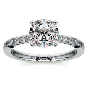 Delicate Shared-Prong Diamond Engagement Ring in White Gold
