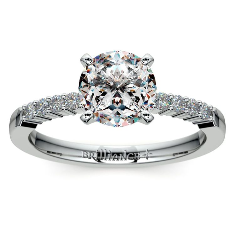 Delicate Shared-Prong Diamond Engagement Ring in White Gold | 01