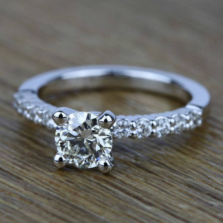 Delicate Shared-Prong Diamond Engagement Ring in White Gold | 05