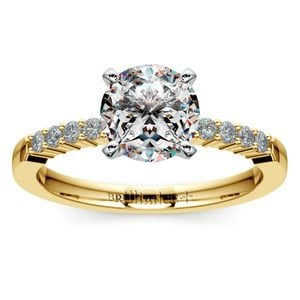 Delicate Shared-Prong Diamond Engagement Ring in Yellow Gold