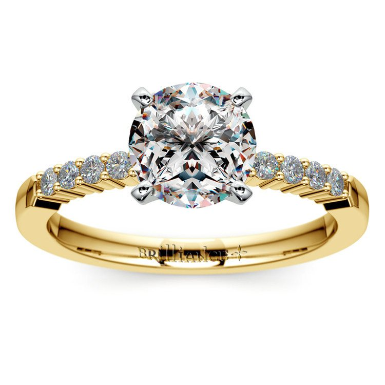 Delicate Shared-Prong Diamond Engagement Ring in Yellow Gold   01