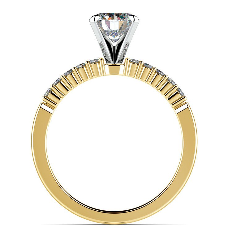 Delicate Shared-Prong Diamond Engagement Ring in Yellow Gold   02