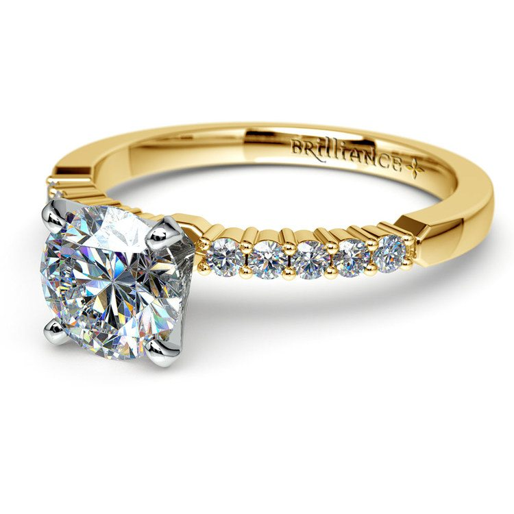 Delicate Shared-Prong Diamond Engagement Ring in Yellow Gold   04