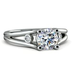 Diamond Accent Solitaire Engagement Ring in White Gold | Thumbnail 04