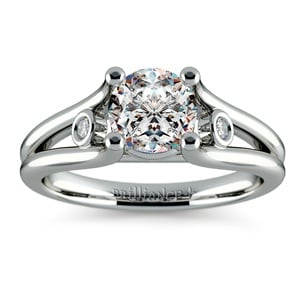 Diamond Accent Solitaire Engagement Ring in White Gold