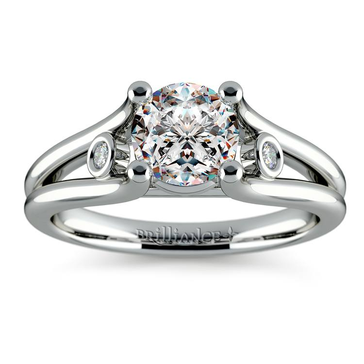 Diamond Accent Solitaire Engagement Ring in White Gold | 01