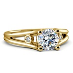 Diamond Accent Solitaire Engagement Ring in Yellow Gold | Thumbnail 04