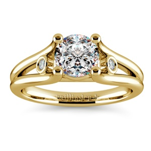Diamond Accent Solitaire Engagement Ring in Yellow Gold