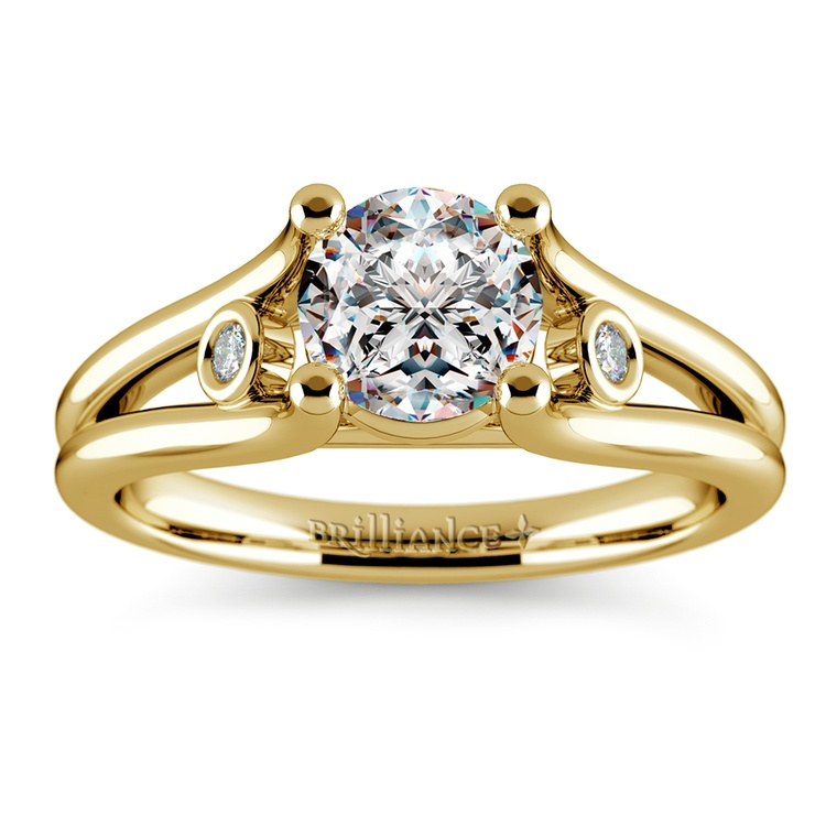 Diamond Accent Solitaire Engagement Ring in Yellow Gold | 01