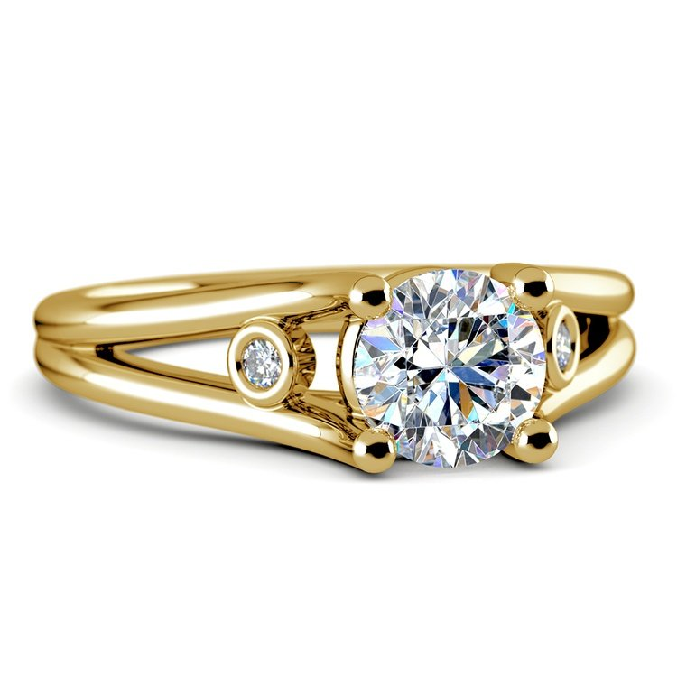 Diamond Accent Solitaire Engagement Ring in Yellow Gold | 04