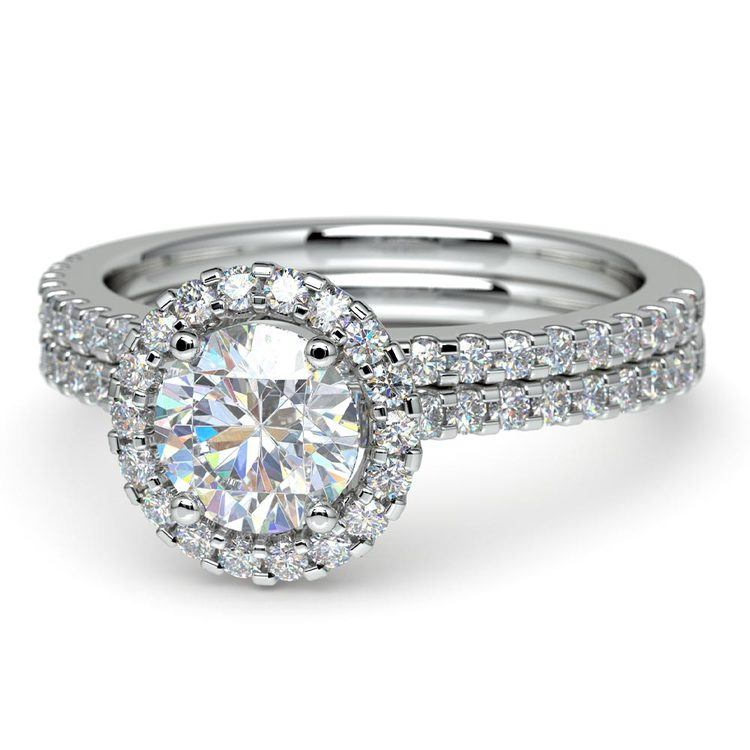 Diamond Halo Bridal Set In Platinum   04