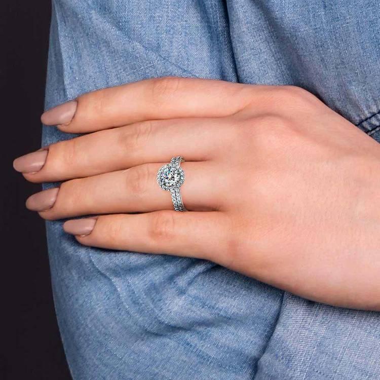 Diamond Halo Bridal Set In Platinum   07