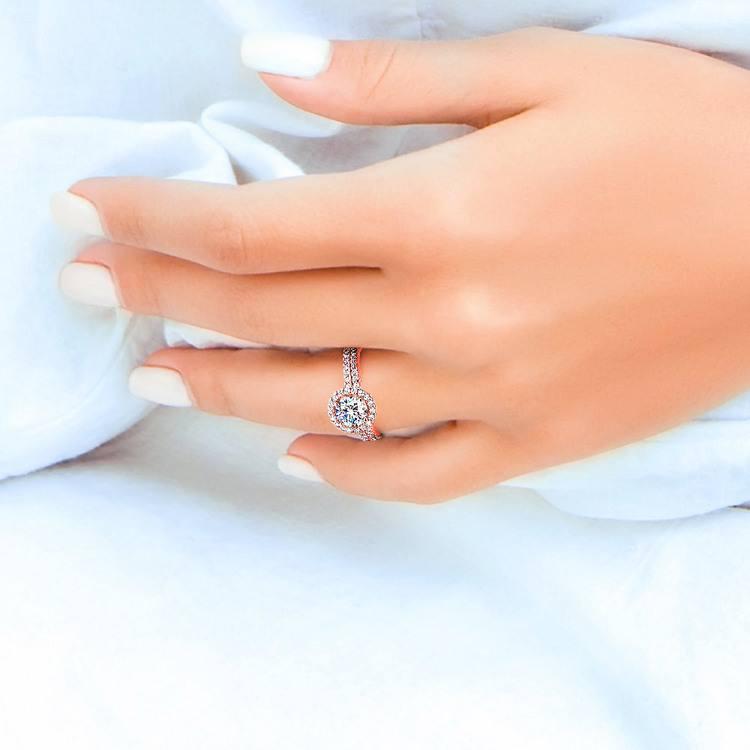 Diamond Halo Bridal Set In Rose Gold | 07