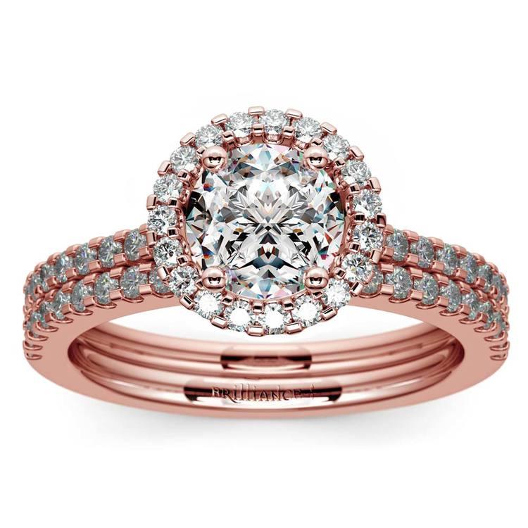 Diamond Halo Bridal Set In Rose Gold | 01