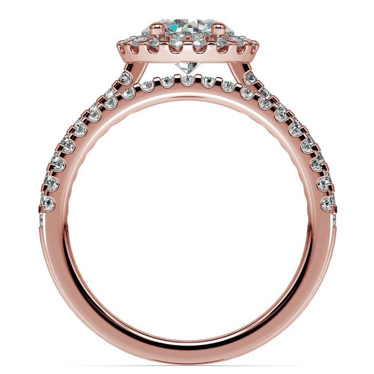 Diamond Halo Bridal Set In Rose Gold | 02