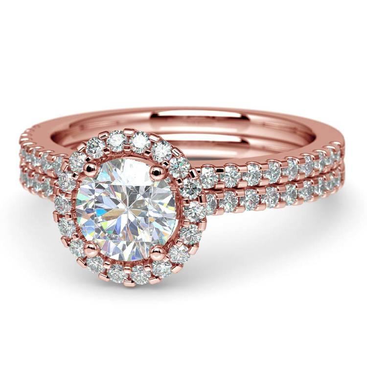 Diamond Halo Bridal Set In Rose Gold | 04