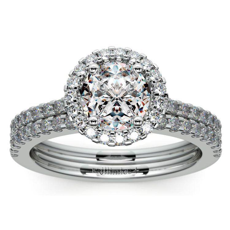 Diamond Halo Bridal Set In White Gold | 01