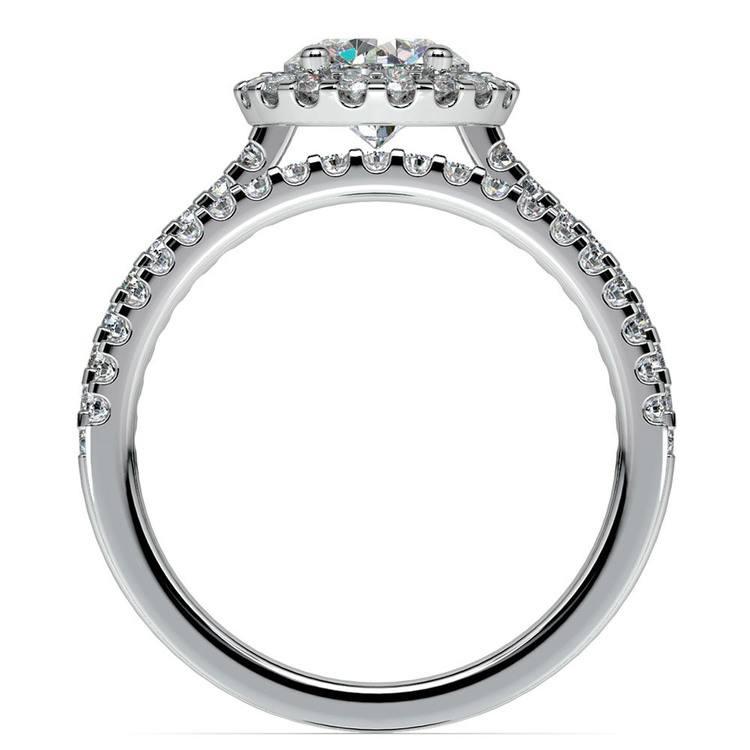 Diamond Halo Bridal Set In White Gold | 02
