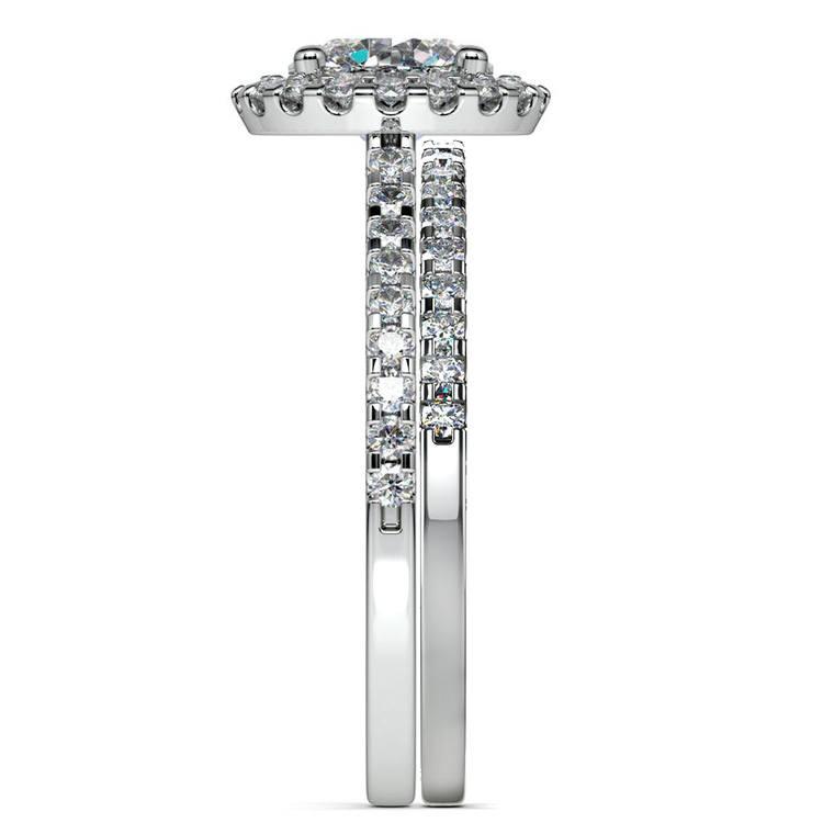 Diamond Halo Bridal Set In White Gold | 03