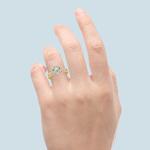 Diamond Halo Bridal Set In Yellow Gold   Thumbnail 06