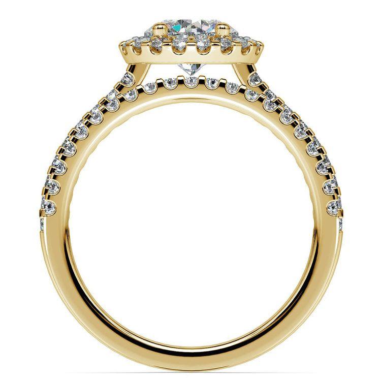 Diamond Halo Bridal Set In Yellow Gold   02