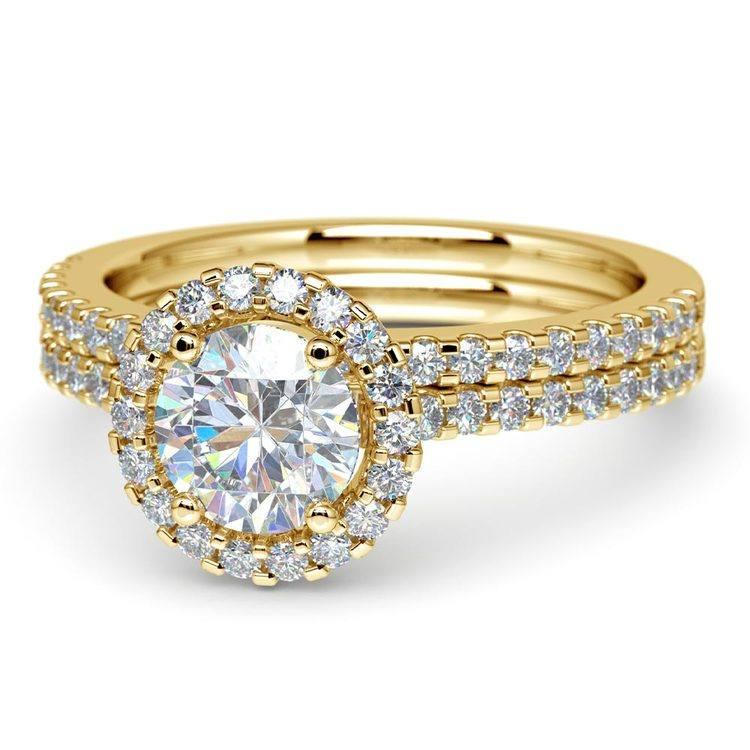 Diamond Halo Bridal Set In Yellow Gold   04