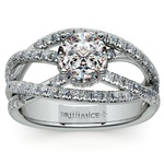 Double Cross Split Shank Diamond Engagement Ring in Platinum | Thumbnail 01