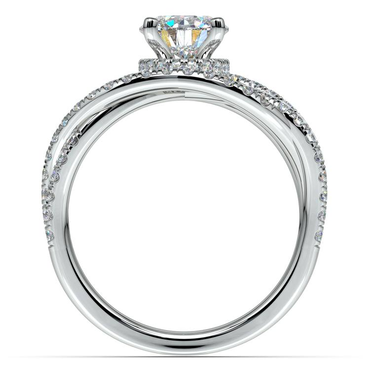 Double Cross Split Shank Diamond Engagement Ring in Platinum | 02