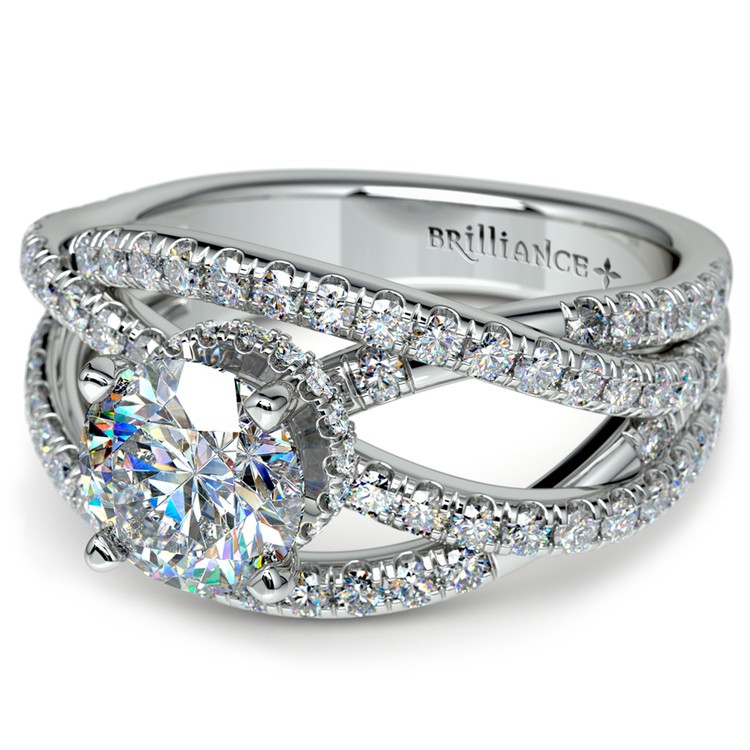 Double Cross Split Shank Diamond Engagement Ring in Platinum | 04