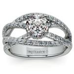 Double Cross Split Shank Diamond Engagement Ring in White Gold | Thumbnail 01