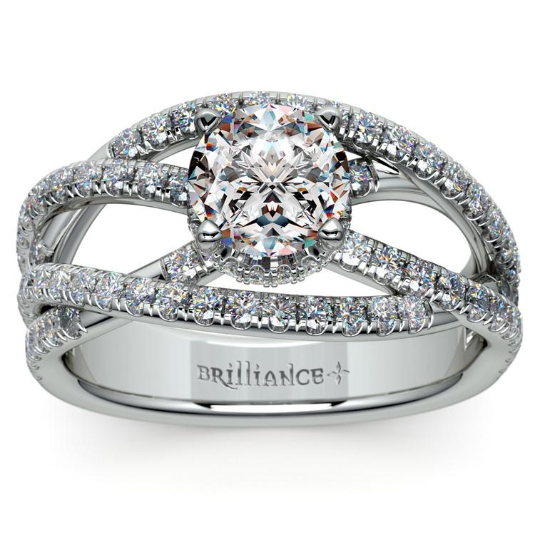 Double Cross Split Shank Diamond Engagement Ring in White Gold | 01