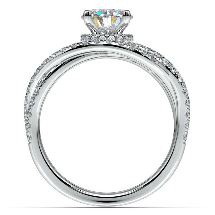 Double Cross Split Shank Diamond Engagement Ring in White Gold | 02
