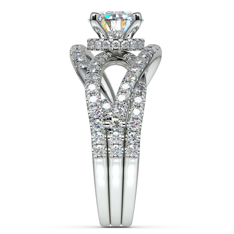 Double Cross Split Shank Diamond Engagement Ring in White Gold | 03