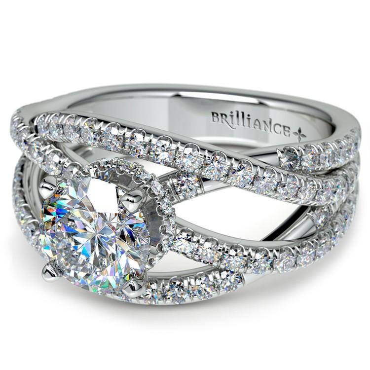Double Cross Split Shank Diamond Engagement Ring in White Gold | 04