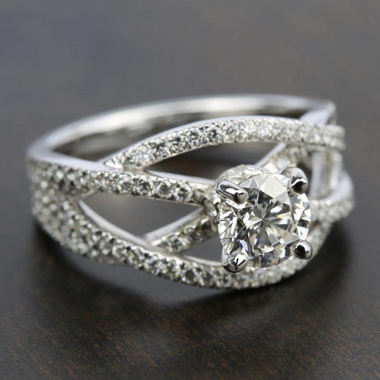 Double Cross Split Shank Diamond Engagement Ring in White Gold | 05