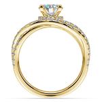 Double Cross Split Shank Diamond Engagement Ring in Yellow Gold | Thumbnail 02