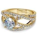 Double Cross Split Shank Diamond Engagement Ring in Yellow Gold | Thumbnail 04