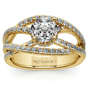 Double Cross Split Shank Diamond Engagement Ring in Yellow Gold