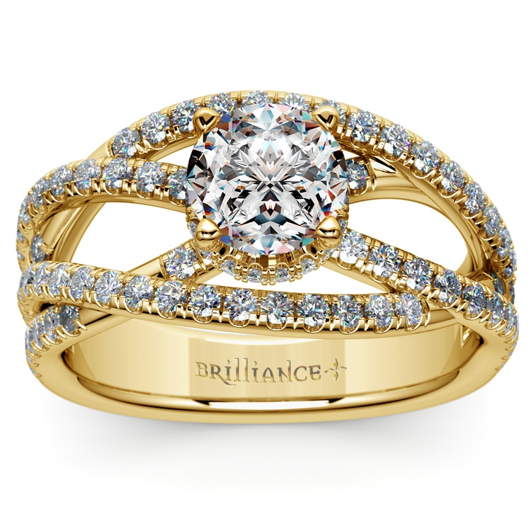Double Cross Split Shank Diamond Engagement Ring in Yellow Gold | 01